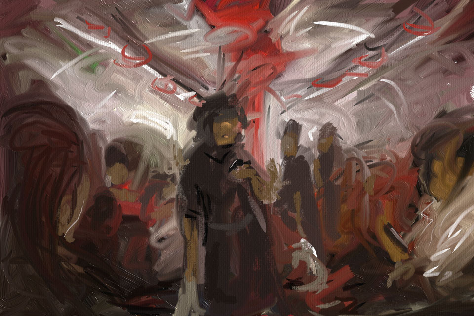 painting on the subway