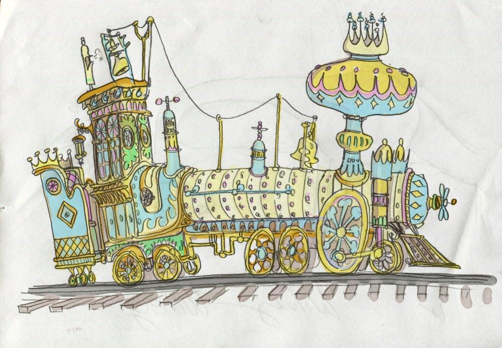 cartoon steam train