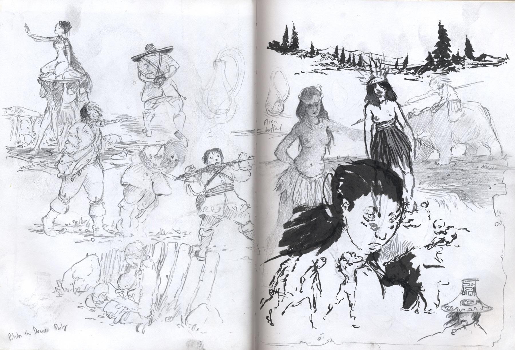sketchbook drawing girls, slave