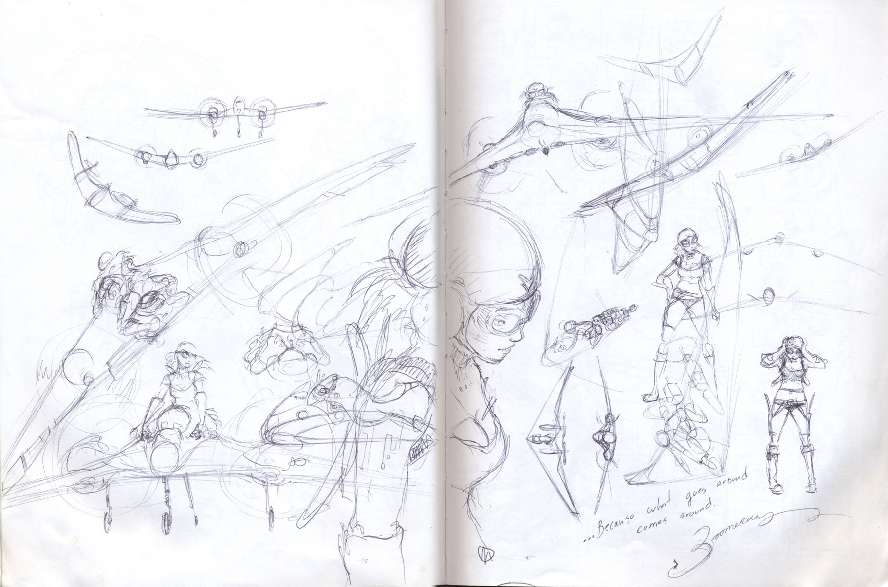 sketchbook drawing girl goggles
