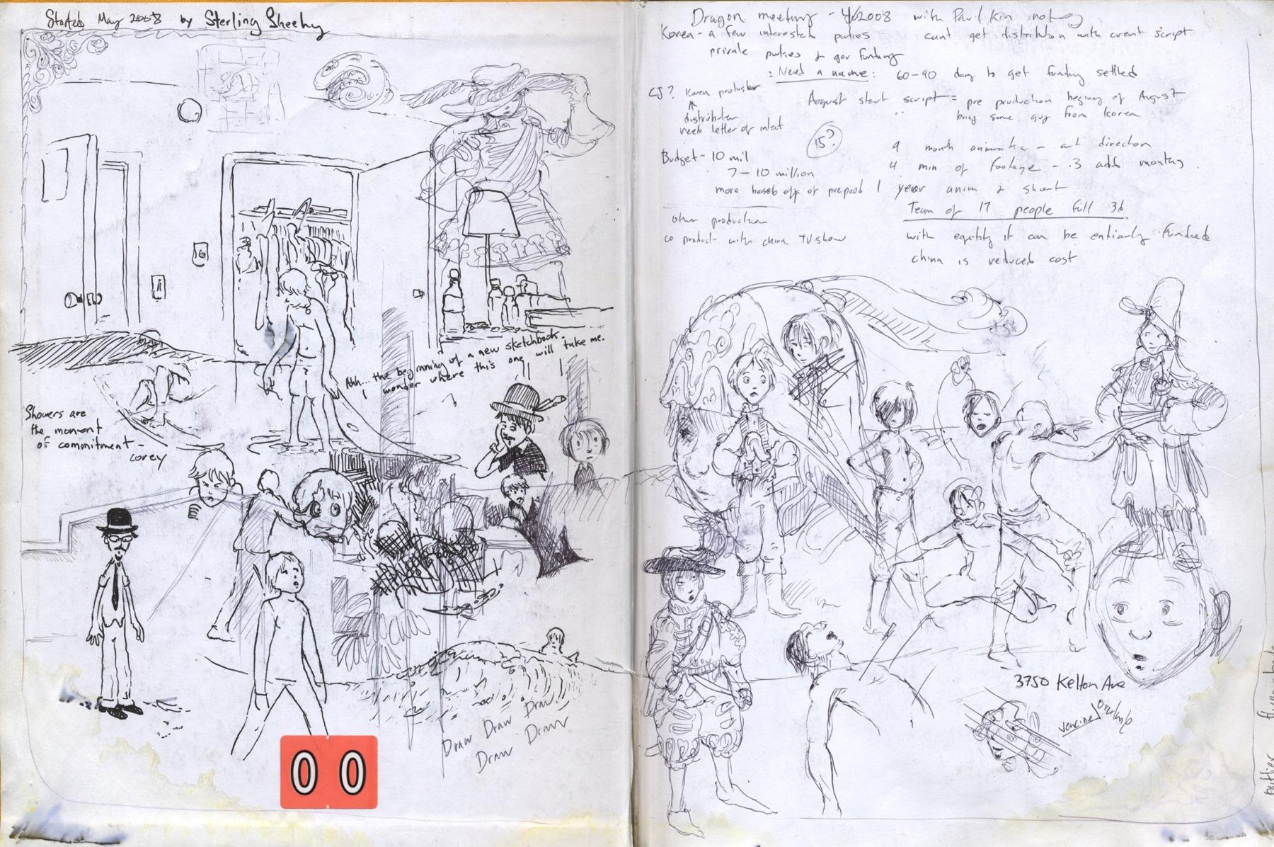 sketchbook drawing self portrait