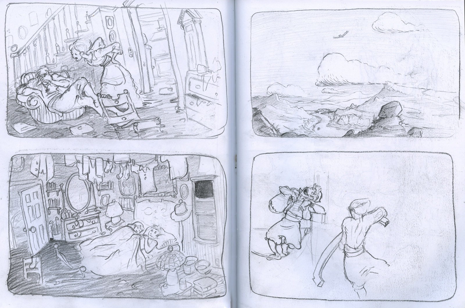 sketchbook drawing storyboard panels