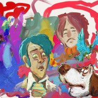 dog and guy with green hair