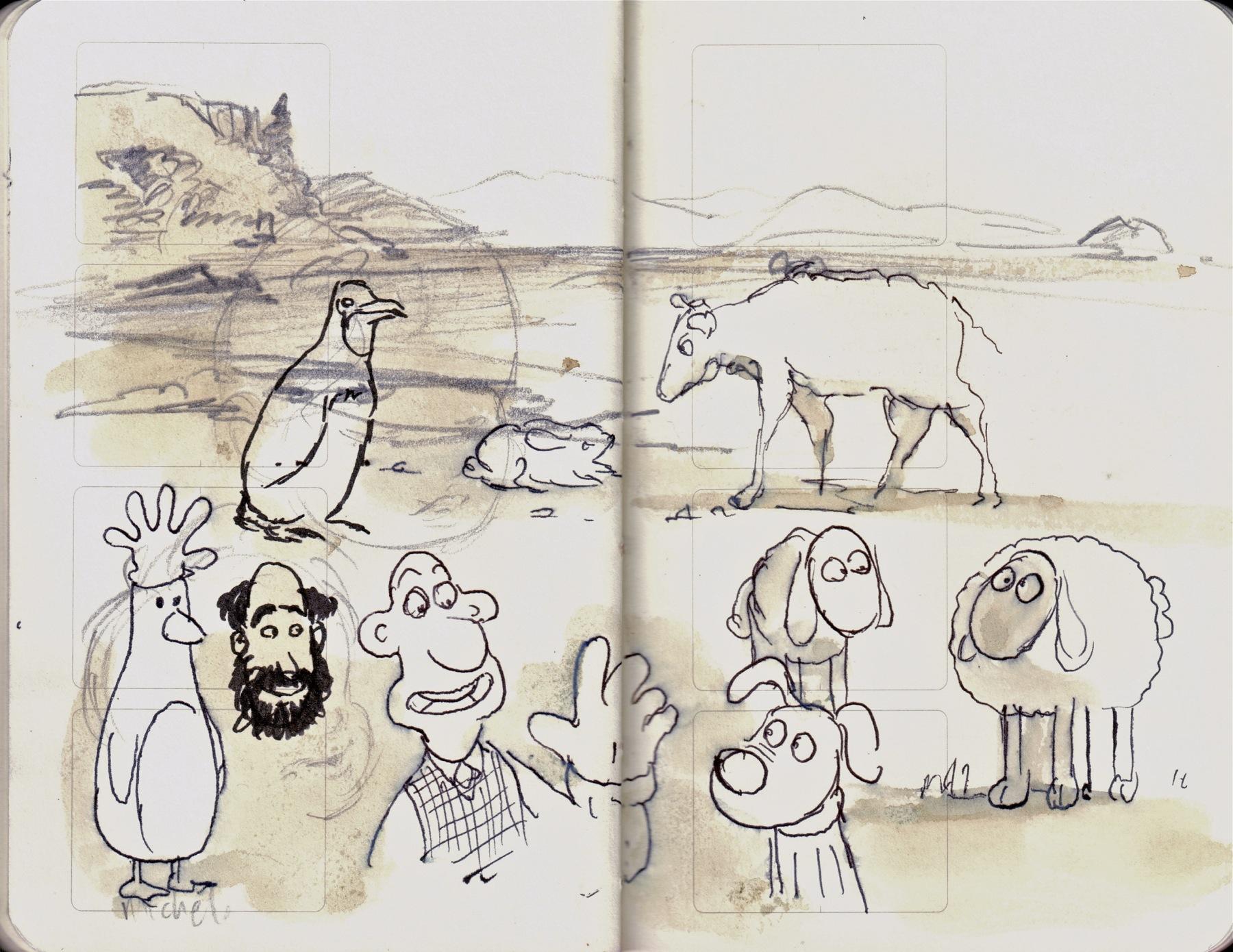 sheep, dog, non flying bird