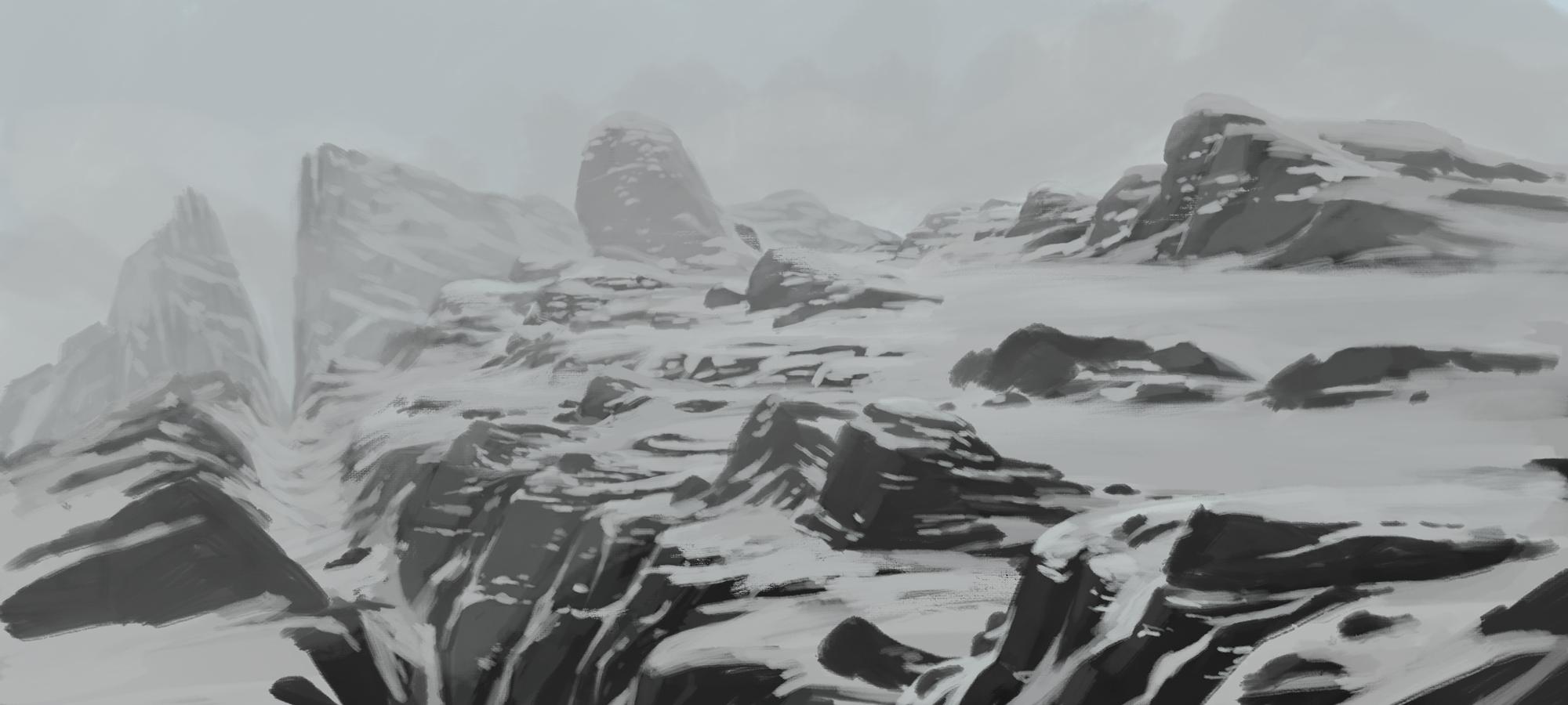 snow, ice and rocks