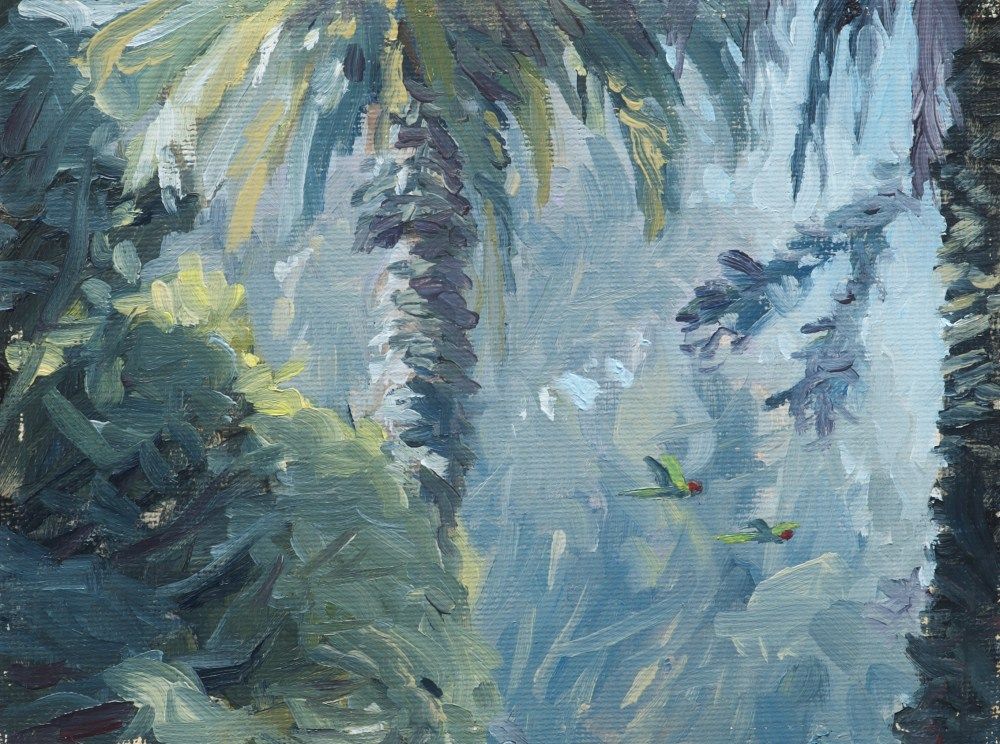 plein air painting by Sterling Sheehy of parrots in the presidio
