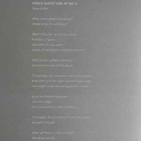 Green Ghost Girl at No. 9, Steve Griffin poem