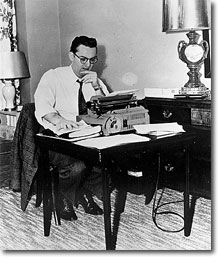 Steve Allen at his typewriter, well before 1999