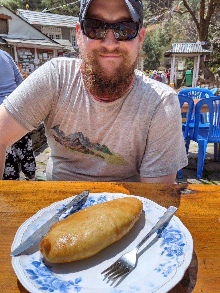 """Steve with his """"spring roll."""""""