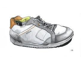 ecco-shoe-ink-watercolour-stevebeadleart