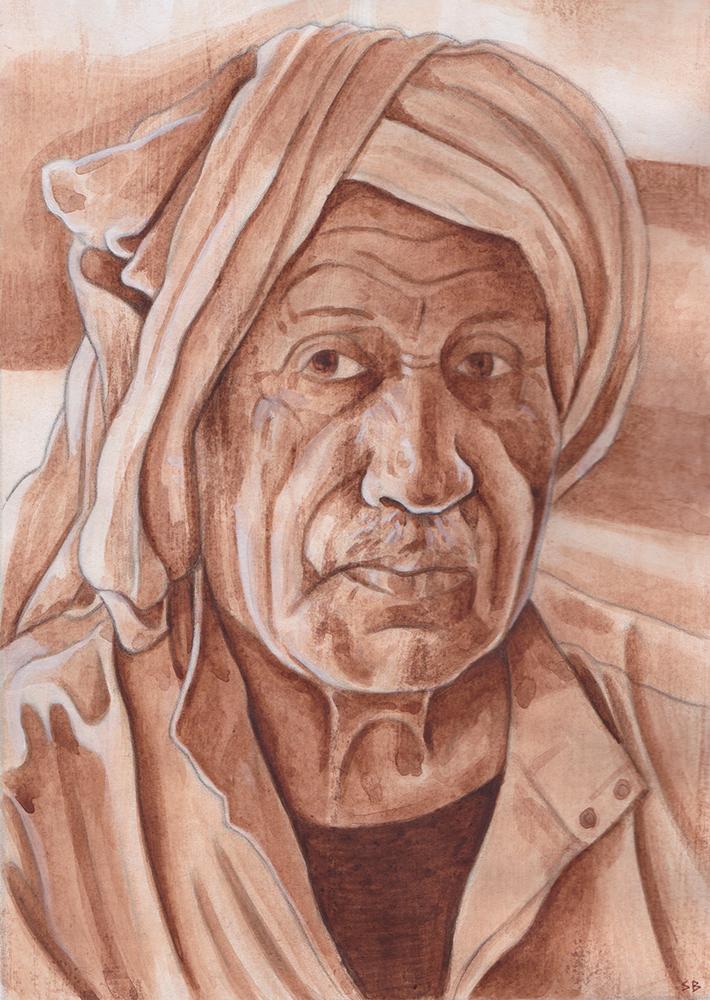 man-in-turban-acrylic-painting-steve-beadle-art