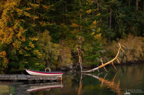 A landscape photograph of a boat and an old snag on Kennedey Lagoon on Whidbey Island near Coupeville, Washington.