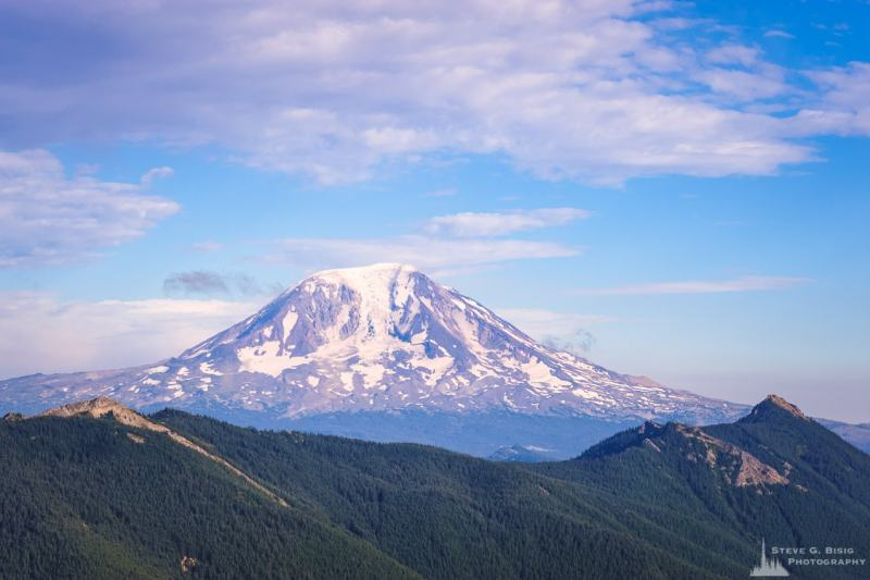 A photograph of Mount Adams as viewed from the Burley Mountain Lookout in the Gifford Pinchot National Forest, Lewis County, Washington.
