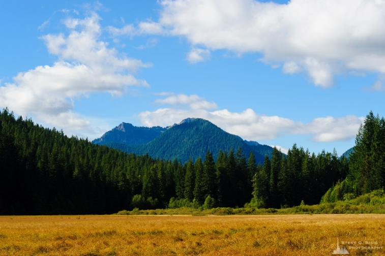 A landscape photograph of Tumtum Peak and Mount Wow in the distance as viewed from Bear Prairie along Forest Road 52 (Skate Creek Road) in the Gifford Pinchot National Forest in Lewis County, Washington.