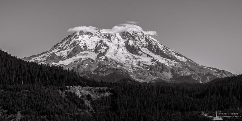 A black and white landscape photograph of Mount Rainier as viewed from the Forest Road 59 near Ashford, Washington.