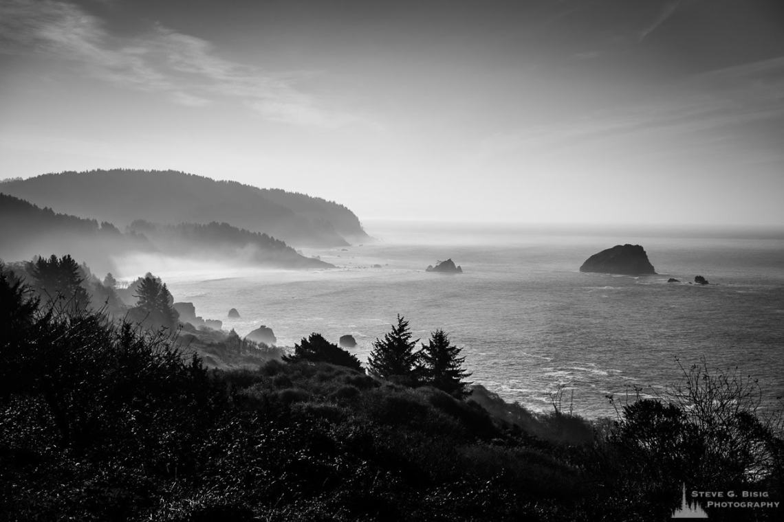 A black and white landscape photograph of the Pacific Ocean and False Klamath Cove at Wilson Creek along Highway 101, California.