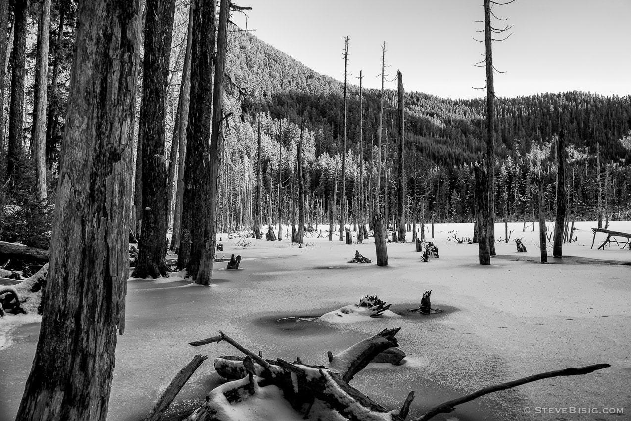Snow Covered Coplay Lake, Pierce County, Washington, 2009