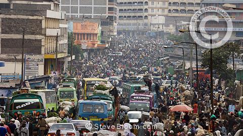 Crowded street market scene in the Majengo district of Nairobi, Kenya, Africa.