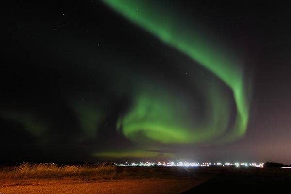 Aurora spiral over St. Albert