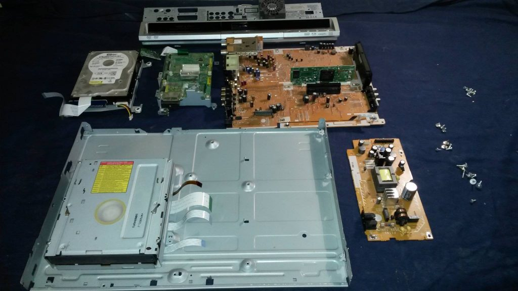 A Panasonic DVD recorder stripped for service