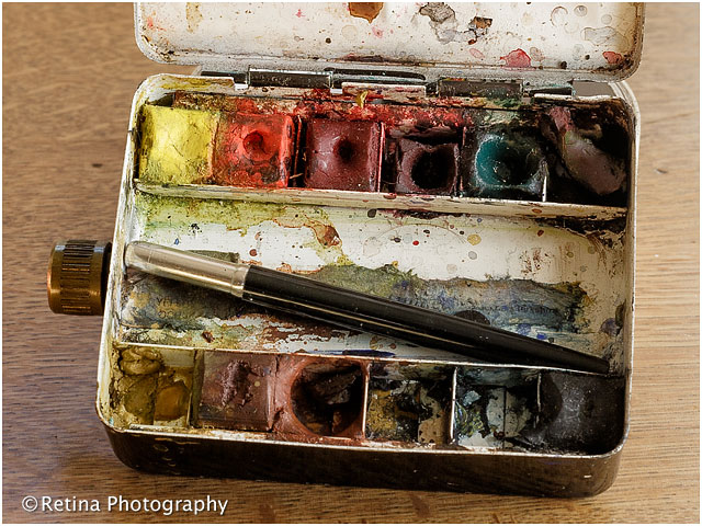 Close Up of Artists Paints in Tin
