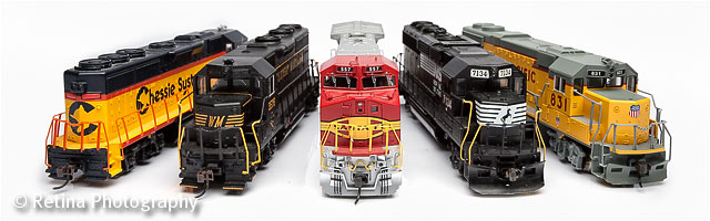 Five American Railroad Model Trains