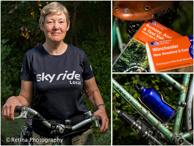 Portrait of Sky Ride Leader With Bicycle and Maps With Waterbottle Detail