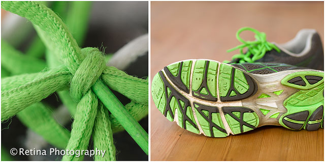 Close Up of Running Shoe and Macro Shot of Shoe Laces