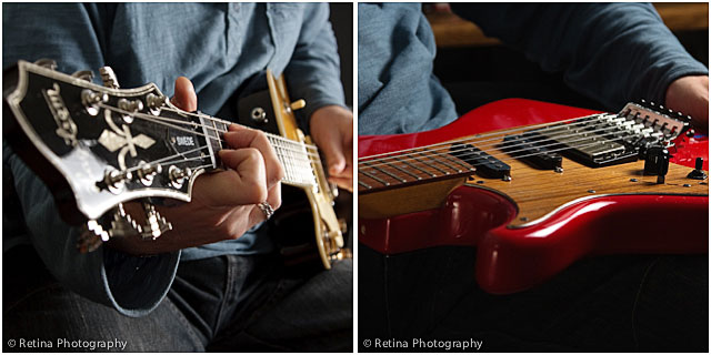 Close up of Guitarist Playing Red Electric Guitar