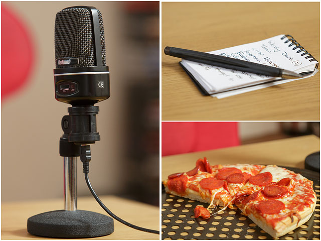 Microphone Pizza And Notebook With Pen From SDFF Podcast Recording Session