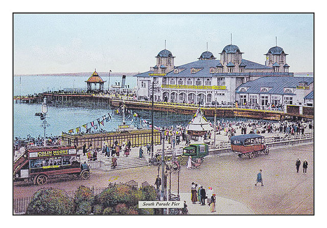 Hand Coloured Print of South Parade Pier With Ice Cream Kiosk During Victorian Era
