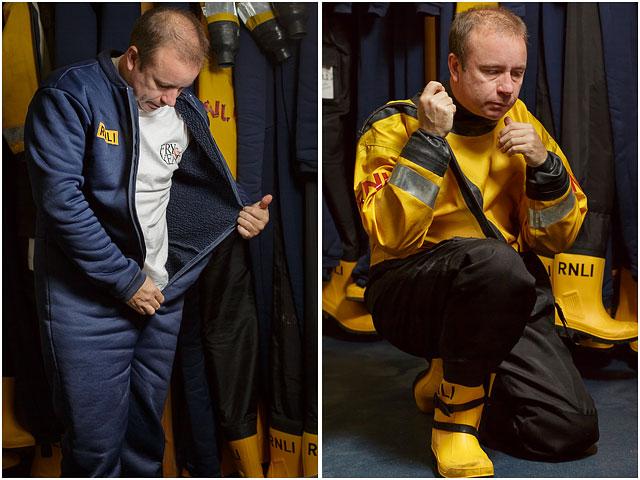RNLI Volunteer Dressing In Survival Clothing