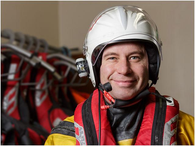 RNLI Volunteer In Survival Kit And Helmet