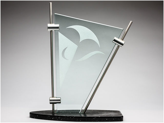 Front View Of Etched Glass And Stainless Steel Sailing Trophy Grey Graduated Background