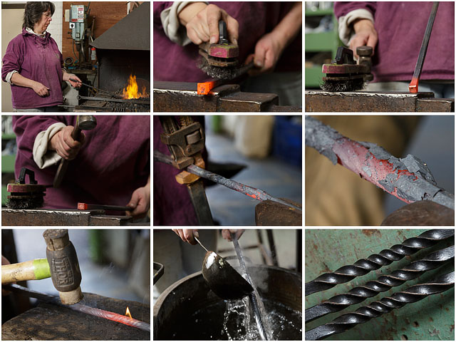 Montage Of Blacksmith Artist Working With Hot Metal In Little Duck Forge