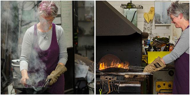 Ceramacist Enjoying Learning A New Skill At A Blacksmiths Taster Day