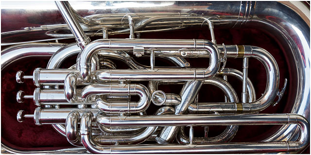 Close Up Of E Flat Bass Tuba In Case