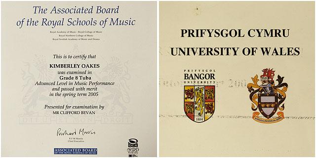 Grade 8 Tuba And University Of Bangor Paper Certificates