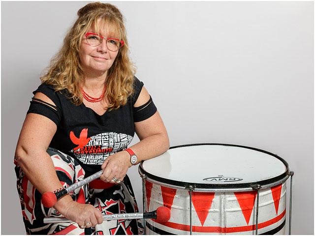 Portrait Female Batala Drummer Costume Dobra Drum Red Black White