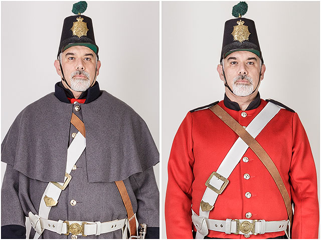 1860 Fort Cumberland Guard Costume Uniform Tunic Red Shako Hat