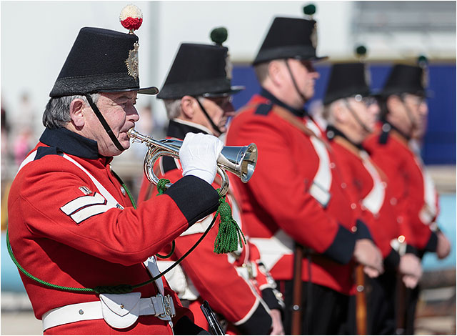 Bugler sounding a call during a Fort Cumberland Guard display