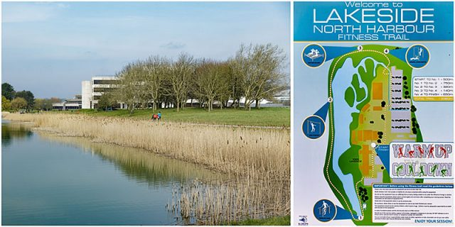 Portsmouth Lakeside fitness trail map and view across the lake