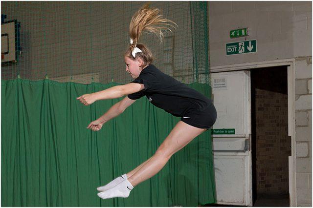 Individual cheerleader jump