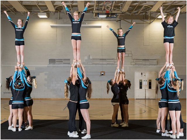 portsmouth warriors cheerleaders practising their pyramid routine
