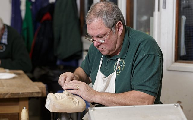 George Palmer chairman of the solent guild of woodcarvers and sculptors