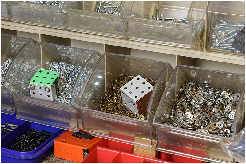 Plastic storage units for Meccano nuts bolts screws and washers
