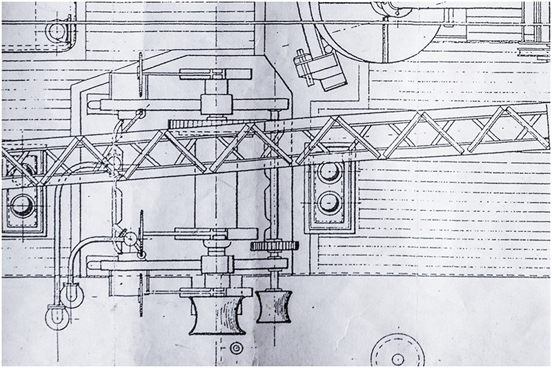Close up of floating barge drawing