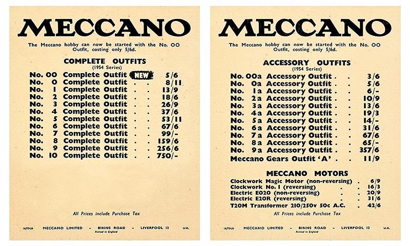 1954 Meccano price list