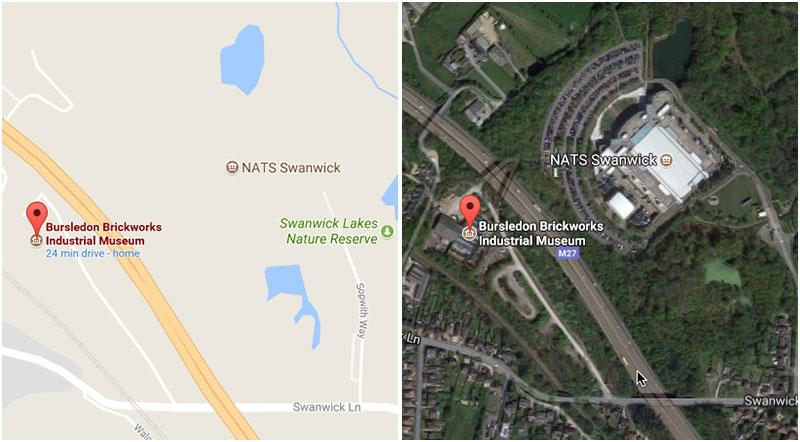 Google map NATS and bursledon brickworks museum map