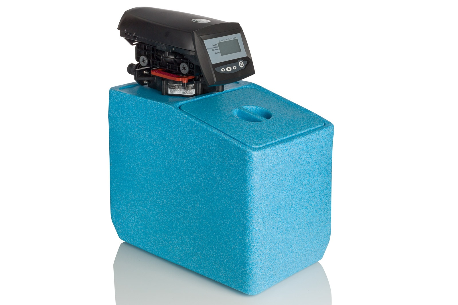 blue water softener tank with timer on white background